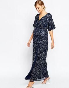 0ea31bf8603 ASOS Maternity | ASOS Maternity Kimono Maxi Dress In Sequin at ASOS Style  Kimono, Blue
