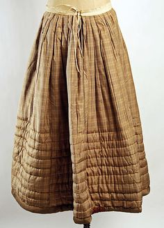 Petticoat c. 1850, American, silk, cotton, length at center back: 36.5 inches
