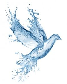 Baptism is the basis of the whole Christian life, as we are born of the water and the Spirit. Baptism is necessary for salvation (John and conveys a permanent sign that the new Christian is a child of God. Water Drawing, Water Art, Dove Drawing, Water Water, Water Baptism, Spirit Tattoo, Saint Esprit, Prophetic Art, Holy Ghost