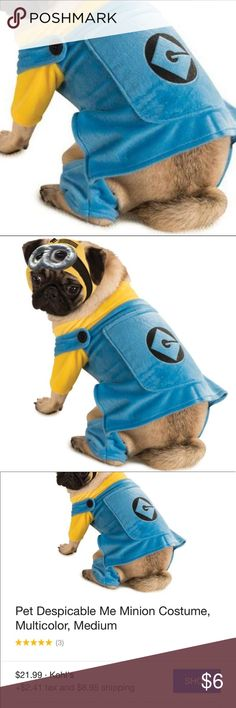 """Despicable Me Minion Dog Costume The hat shown in stock photo is MISSING. Only selling the costume. Worn once. Size small. Length 14"""". 🐶 Disney Costumes"""