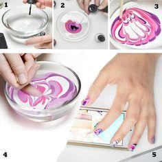 Cómo pintar uñas en agua, como pintar uñas en agua.  Follow! #uñasdecoradas #unhas #uñasfinas