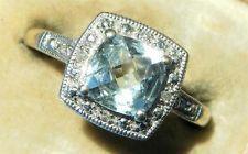 nr antique art deco white gold cushion cut 0.93ct aquamarine & diamond 9ct ring