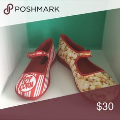 Hot Chocolate Design Popcorn Mary Janes style. Pop corn prints Hot Chocolate Design Shoes
