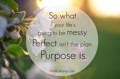 So what if your life's going to be messy. Perfect isn't the plan. Purpose is. AnnVoskamp.com