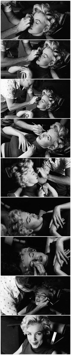 Marilyn Monroe gets her makeup done by makeup artist/friend Allan 'Whitey' Snyder; photographed by business partner/friend Milton Greene, 1954.