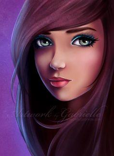 Helene by on deviantART Girly Drawings, Cool Drawings, Girly M, Woman Illustration, Digital Art Girl, Beauty Art, Girl Cartoon, Face Art, Illustrations