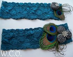 SomeThing Blue II Bridal Peacock Garter Set on Stretch Lace with Dupioni Silk Rosettes and Rhinestone Accents