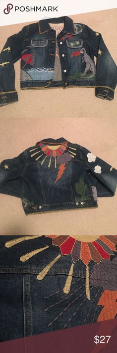 Festival Jean Jacket 🌵⚡️ Unique hand embroidered jean jacket. Worn once and in perfect condition. See by Chloe Jackets & Coats Jean Jackets