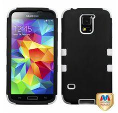 SAMSUNG Galaxy S5> Galaxy S5 Gummierter schwarz solide weiß TUFF Hybrid telefonisch Schutzabdeckung