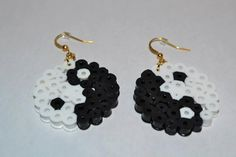 Perler Bead Yin Yang Earrings by PerlerDesignsbyKati