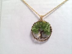 Tree Of Life Necklace Green Peridot Pendant On by Just4FunDesign