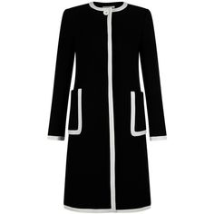 Hobbs Scarla Coat, Black/Ivory ($395) ❤ liked on Polyvore featuring outerwear, coats, single-breasted trench coats, hobbs, leather-sleeve coats, white winter coat and long sleeve coat