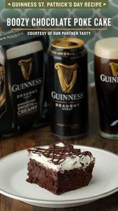 Kick off the St. Patrick's Day celebration with Tasty's Boozy Chocolate Poke Cake! Infused with your favorite St. Patrick's Day beer, Guinness Draught and Baileys Original Irish Cream, it's the perfect St. Paddy's Day treat. Add it to your meal planning list of traditional Irish recipes like shepherd's pie or corned beef and cabbage, and enjoy it with a pint of the best St. Paddy's Day beer. Don't miss this Irish twist on a favorite dessert recipe! Happy St. Patrick's Day ☘️ Just Desserts, Delicious Desserts, Dessert Recipes, Yummy Food, Irish Desserts, Food Cakes, Cupcake Cakes, Cupcakes, Baileys Original