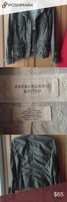 Abercrombie & Fitch Womens Army green Jacket Size medium worn once. Like brand new Abercrombie & Fitch Jackets & Coats Blazers
