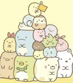 """San-X, makers of Rilakkuma, has made a new series of kawaii characters, Sumikko Gurashi, which literally means """"living in the tiny corners."""" These cute animals all look like a cross between a hamster and something else. This very adorable wall calendar is Cute Kawaii Animals, Cute Animal Drawings Kawaii, Cute Cartoon Drawings, Cartoon Pics, Cute Cartoon Wallpapers, Kawaii Doodles, Kawaii Art, Japanese Drawings, Character Wallpaper"""