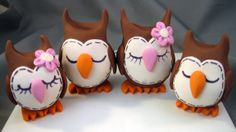 polymer clay owls for a cake