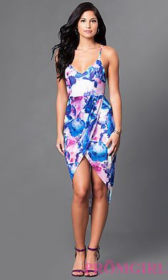High-Low Print Party Dress with Mock-Wrap Skirt 6e8338792