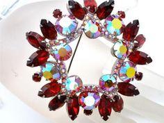 High End Sparkling Ruby Red Aurora Borealis Rhinestone Large Brooch Pin Vintage | eBay