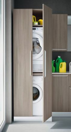 Vertical Laundry Room Is The Ultimate Space-Saver For Your Home – Virily Laundry Closet, Laundry Room Storage, Laundry Room Design, Cupboard Storage, Laundry In Bathroom, Bathroom Storage, Laundry Rooms, Shiplap Bathroom, Bathroom Closet