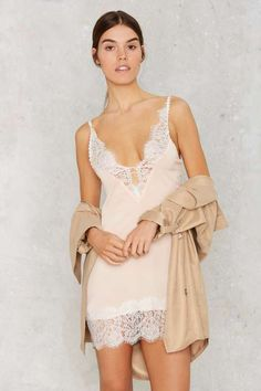 Peaches and Cream Lace Slip Dress