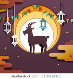 Eid al adha design in paper art style with goat and lanterns elements
