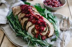 Hypoallergenic Pet Dog Food Items Diet Program This Turkey Roulade Is Stuffed With Montmorency Tart Cherries, Chestnuts And Herbs. It's Topped With A Red Wine Soaked Cherry Sauce And Makes For A Beautiful And Easy Holiday Dish. By Choosecherries Cherry Sauce, Cherry Tart, Sour Cherry, Best Thanksgiving Recipes, Holiday Recipes, Thanksgiving Holiday, Holiday Meals, Winter Holiday, Christmas Recipes