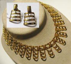 1920's Modernist Machine Age 20s ART DECO Brass Link CLEOPATRA Choker Necklace & Earrings Set by IncogneetoVintage on Etsy