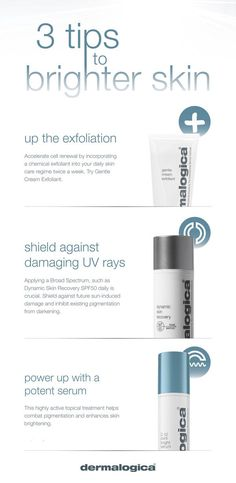 Dermalogica shares 3 tips to brighter skin! 1. Up the exfoliation. TRY: Dermalogica Gentle Cream Exfoliant. 2. Shield against damaging UV rays. TRY: Dermalogica AGE Smart Dynamic Skin Recovery SPF50. 3. Power up with a potent serum. TRY: Dermalogica PowerBright TRx C-12 Pure Bright Serum. Shop at Facial Co. and SAVE 25% off Dermalogica all this month - http://facialco.com.au/dermalogica