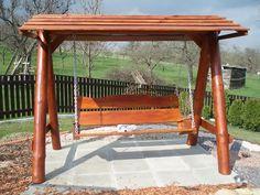 Houpačka z kuláčů / Zboží prodejce joli_K   Fler.cz Deacons Bench, Garden Swings, Canopy Swing, Western Red Cedar, Gliders, Outdoor Seating, Porch Swing, Logs, Garden Furniture