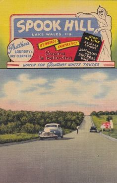 "Lake Wales Florida spook Hill vintage card..roll ""up"" this hill while you're in Lake Wales visiting Bok Tower."