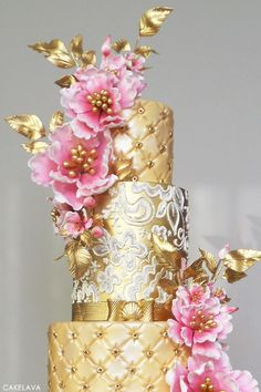 Gold & Pink Wedding Cake | by cakelava | TheCakeBlog.com