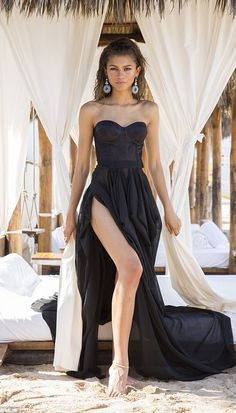 Zendaya In A Fashion Black Prom Dress When Shooting For Modeliste Magazine Cover Black Evening Dresses, Black Prom Dresses, A Line Prom Dresses, Cheap Prom Dresses, Dress Black, Formal Dresses, Wedding Dresses, Wedding Flowers, Mode Zendaya
