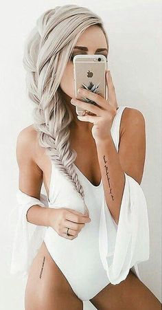 white one piece and cover up.