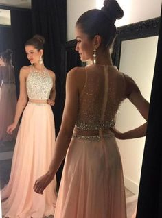 Cute pink chiffon sequins two pieces prom dress for teens, ball gown 2016