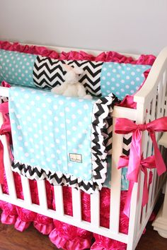 Custom Baby Bedding 3 or 4 Piece Set Black by BabyCarSeatCovers