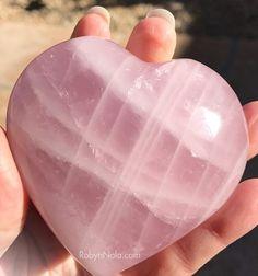 Large, Polished Rose Quartz Gemstone Heart #loveandlight #rosequartz