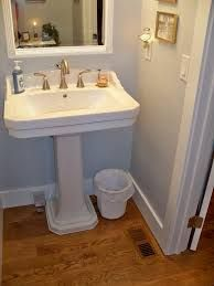 Beautiful best sink for small powder room photos pedestal mirrors corner cabinet pict top mirror kitchen cabinets plans color ideas vanity floor very Powder Room Paint, Powder Room Decor, Powder Room Design, Small Bathroom Vanities, Simple Bathroom, Bathroom Mirrors, Bathroom Ideas, Modern Powder Rooms, Bathroom Design Layout