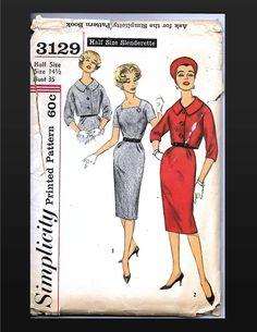 Simplicity 3129 1950s Womens Dress with Jacket & Belt Slenderette Suit Pattern Half Size 14 1/2 Bust 35 Square Neck Slim Skirt Vintage UNCUT