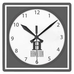 Grey Modern Monogram Square Wall Clock