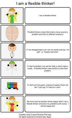 Social thinking + Braidy Flexible thinking script - this is great. tons of ideas and a few really good videos from Michelle Garcia Winners . she's pretty much a genius Social Skills Lessons, Social Skills Activities, Teaching Social Skills, Social Emotional Learning, Coping Skills, Therapy Activities, Life Skills, Therapy Ideas, Social Thinking Curriculum