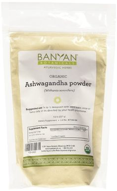 Banyan Botanicals Ashwagandha Powder - Certified Organic, 1/2 Pound - Withania somnifera - A traditional rejuvenative for vata & kapha that promotes vitality & strength*