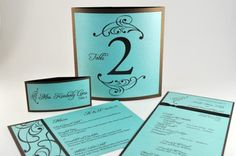 ZOE Coordinating Stationery - Ceremony Program, Escort Card, Table Card, and Menu - (Sample)