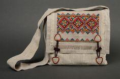 Estuches para maquillaje - Bolso de tela bordado con punto de cruz - hecho a mano por KaenguruhShop en DaWanda