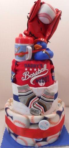 3 Tier Baseball Themed Diaper Cake