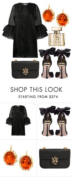 """""""black luxury"""" by sitiraniausemahu ❤ liked on Polyvore featuring Ganni, Miu Miu, Alexander McQueen and Gucci"""
