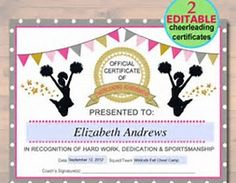 Cheerleading certificate cheerleading award by otpartyprintables image result for free printable cheerleading award certificate templates yelopaper Images