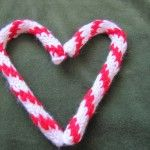 Knit I-cord candy cane Christmas ornaments
