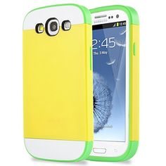 S3 Case,Galaxy S3 Case - ULAK Hybrid Dual Layer Rubber Bumper Skin Case for Galaxy S3 Shock-Absorption / Impact Resistant Slim 2in1 Protective Case Cover with Card Storage for Samsung Galaxy S3 SIII Ii9300 (Yellow PC/Green TPU) ULAK http://www.amazon.com/dp/B00ZRDFZ5K/ref=cm_sw_r_pi_dp_wlMWvb0HXXRD6