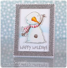 """Weihnachtskarte   Christmas Card, Holiday Card - Purple Onion Designs """"Berry"""", """"Happy Holidays"""", Mama Elephant """"Framed Tags Dies - Madison Avenue"""", Lawn Fawn """"Stitched Hillside Borders"""", Caran d'Ache """"Museum Aquarelle"""", Distress Ink"""