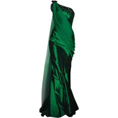 satinee.polyvore.com - Dany Atrache SS 2015 ❤ liked on Polyvore featuring dresses, gowns, green, long dresses, long green dress, green gown, green evening gown and green dress